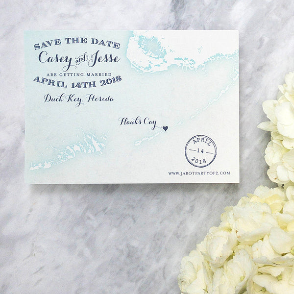 Florida Keys Map Save the Date by Scotti Cline Designs