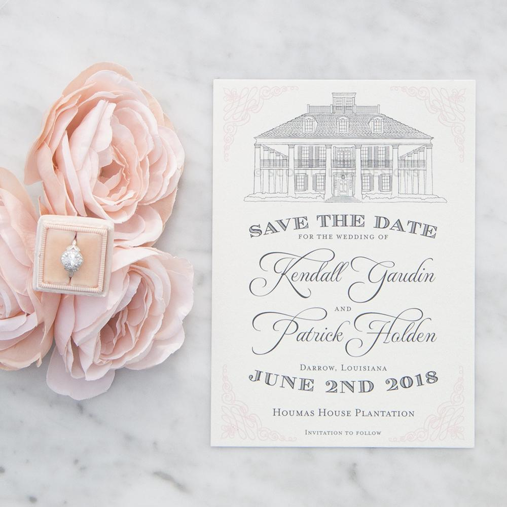 Houmas House Plantation Save the Date by Scotti Cline Designs