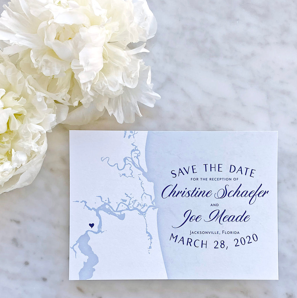 Jacksonville Florida Coastal Map Save the Date by Scotti Cline Designs