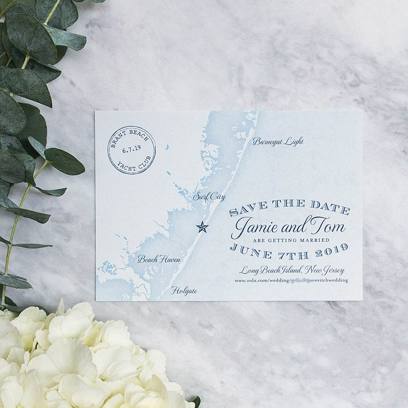 Long Beach Island Map Save the Date by Scotti Cline Designs