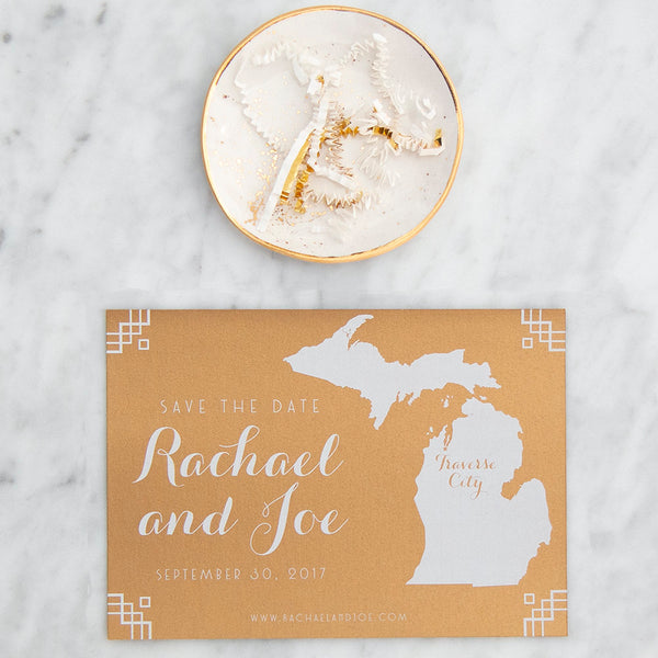 Michigan Map Save the Date by Scotti Cline Designs