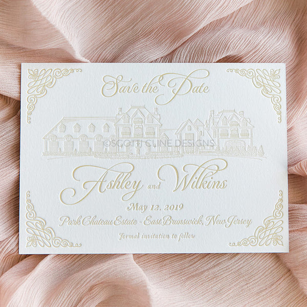 Park Chateau Estate Save the Date by Scotti Cline Designs | Photo by Dana Cubbage Weddings