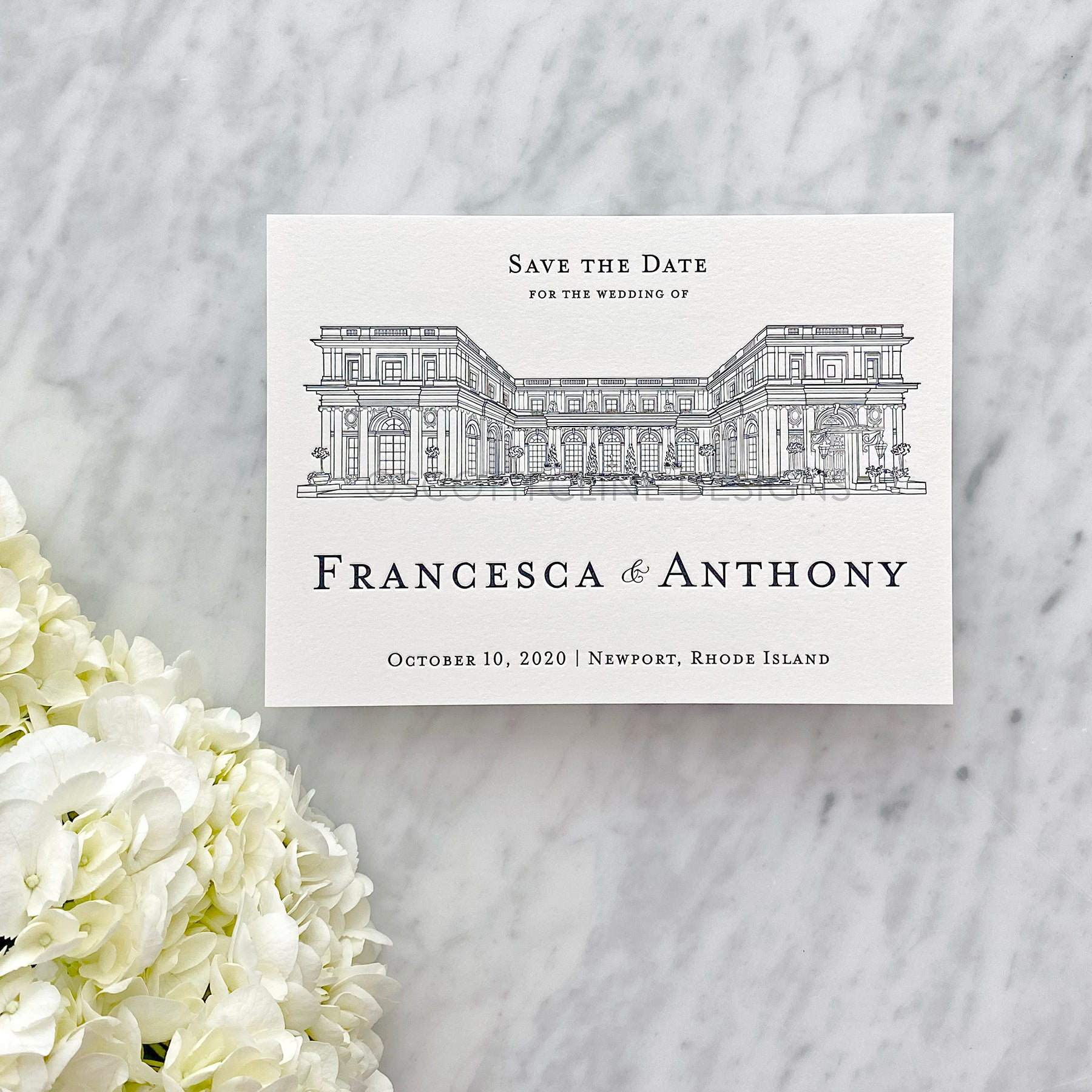 Letterpress Rosecliff Mansion Wedding Venue Save the Date by Scotti Cline Designs - Newport, Rhode Island