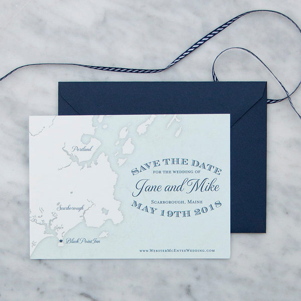 Scarborough Maine Map Save the Date by Scotti Cline Designs