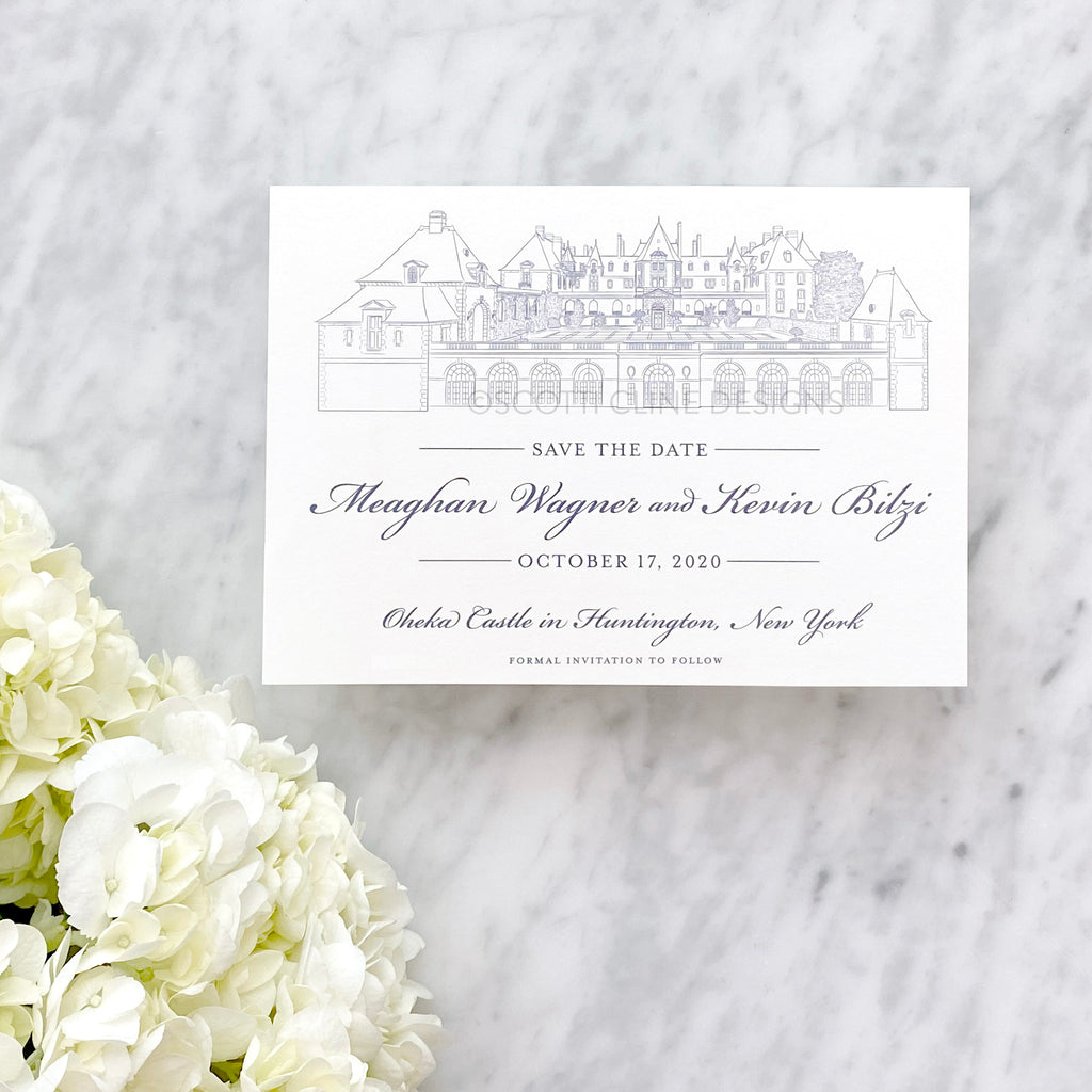 Oheka Castle Venue Sketch Save the Date by Scotti Cline Designs - Oheka Castle - a wedding venue in Huntingon, New York