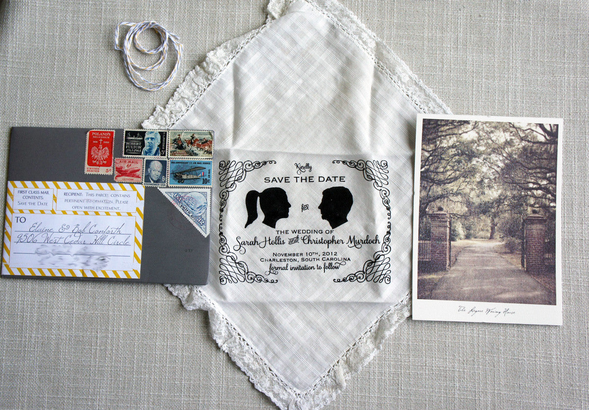 Vintage Handkerchief Save the Date with picture of Legare Waring House