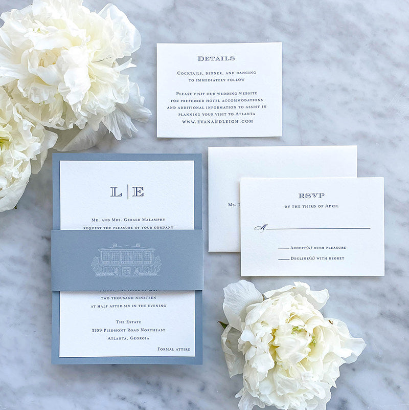 Simple Monogram Wedding Invitation by Scotti Cline Designs