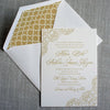 Pattern and Peonies Letterpress Invitation with geometric pattern liner