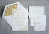 Letterpress Wedding Invitation featuring peony details in taupe