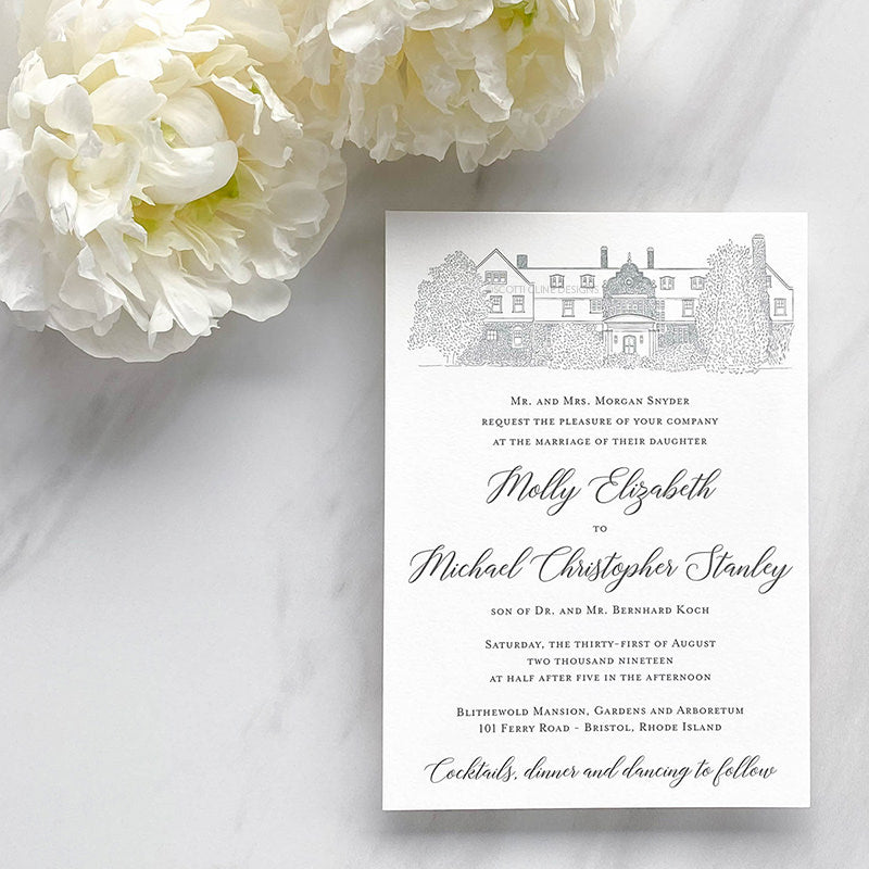 Blithewold Mansion Wedding Invitation by Scotti Cline Designs