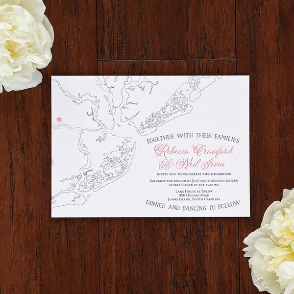 Charleston Outline Map Wedding Invitation by Scotti Cline Designs