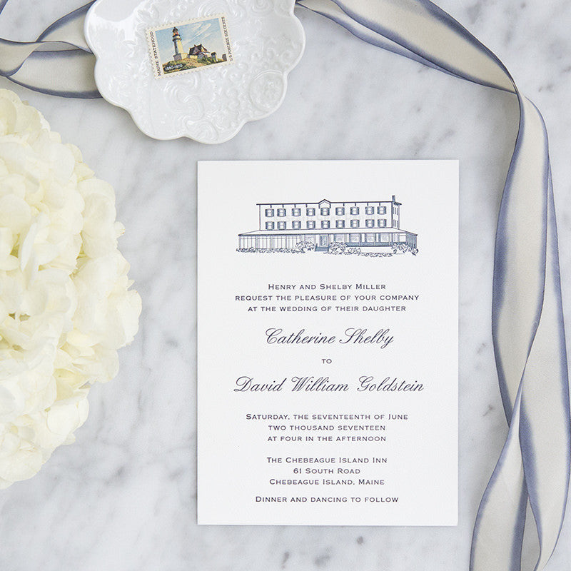 Chebeague Island Inn Letterpress Wedding Invitation by Scott Cline Designs
