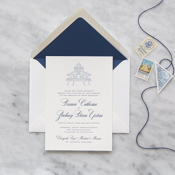 Chesapeake Bay Letterpress Wedding Invitation by Scotti Cline Designs