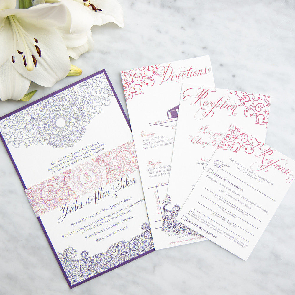 Chicago Cultural Center Letterpress Wedding Invitation Scotti