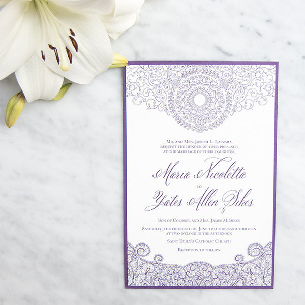 Chicago Cultural Center Letterpress Wedding Invitation by Scotti Cline Designs