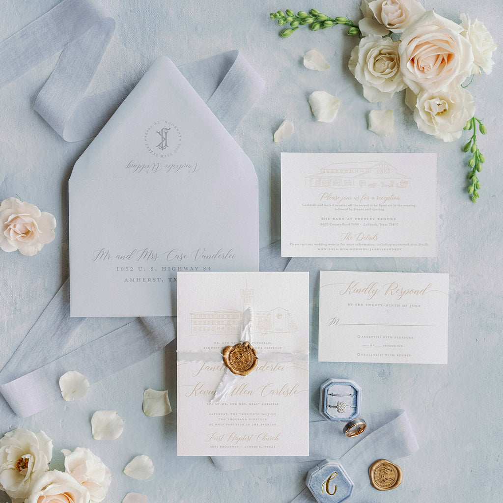 Venue Sketch Wedding Invitation of Eberley Brooks in Lubbock, Texas by Scotti Cline Designs. Photo by May Carlson Photography.