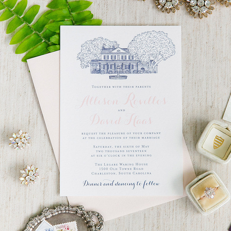 Legare Waring House Wedding Invitation in Charleston, SC by Scotti Cline Designs  -  Photo by Dana Cubbage Weddings