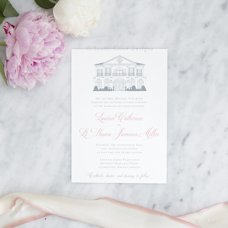 Lowndes Grove Wedding Invitation by Scotti Cline Designs