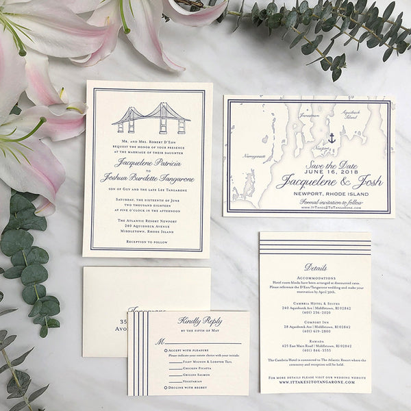 Newport Bridge Wedding Invitation by Scotti Cline Designs