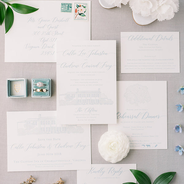 Clifton Inn Wedding Invitation by Scotti Cline Designs - photo by Audrey Rose Photography