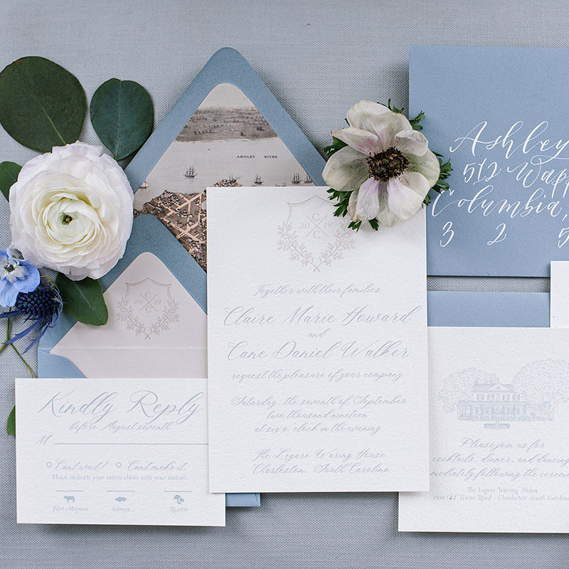 Dusty Blue Monogram Wedding Invitation by Scotti Cline Designs | Photo by Hayley Foster Photography