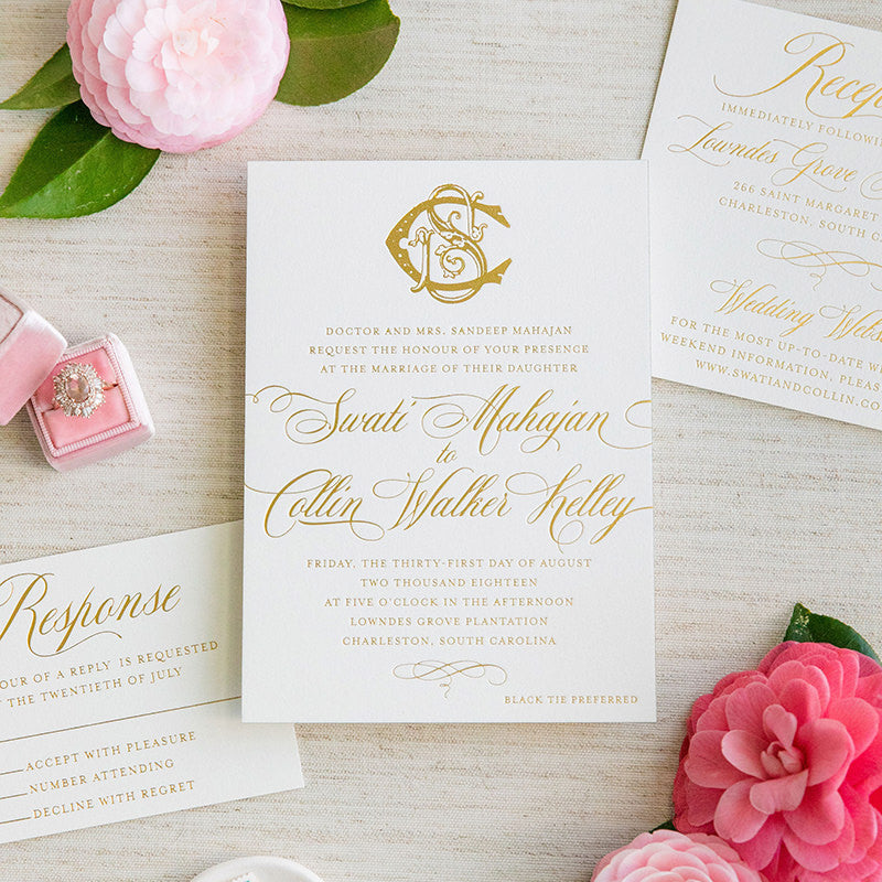 Monogram Gold Foil Wedding Invitation – Scotti Cline Designs