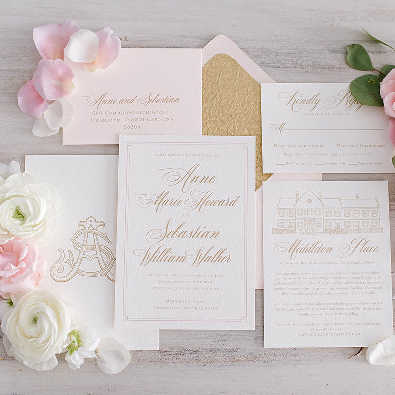 Classic Blush and Gold Wedding Invitation by Scotti Cline Designs | Photo by Hayley Foster Photography