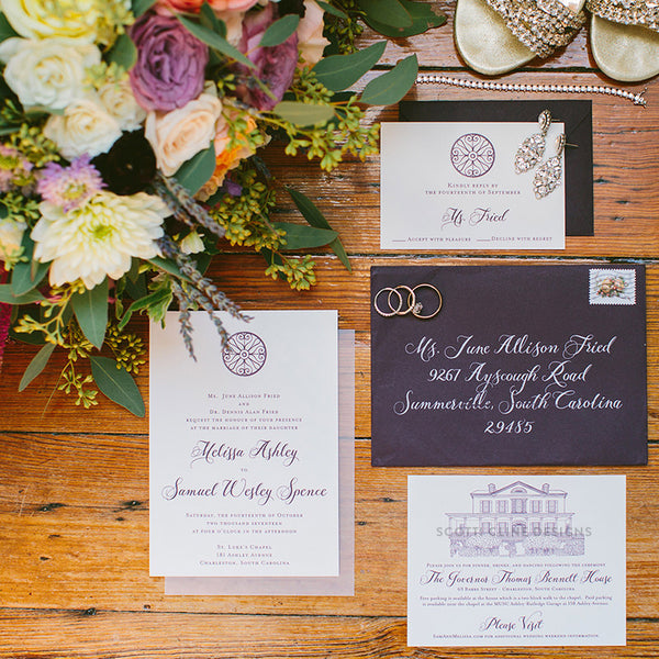 Governor Thomas Bennett House Wedding Invitation by Scotti Cline Designs  | Picture by Taylor Rae Photography