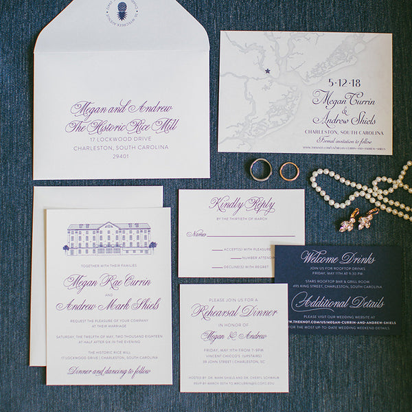 Historic Rice Mill Wedding Invitation by Scotti Cline Designs - photo by Taylor Rae Photography