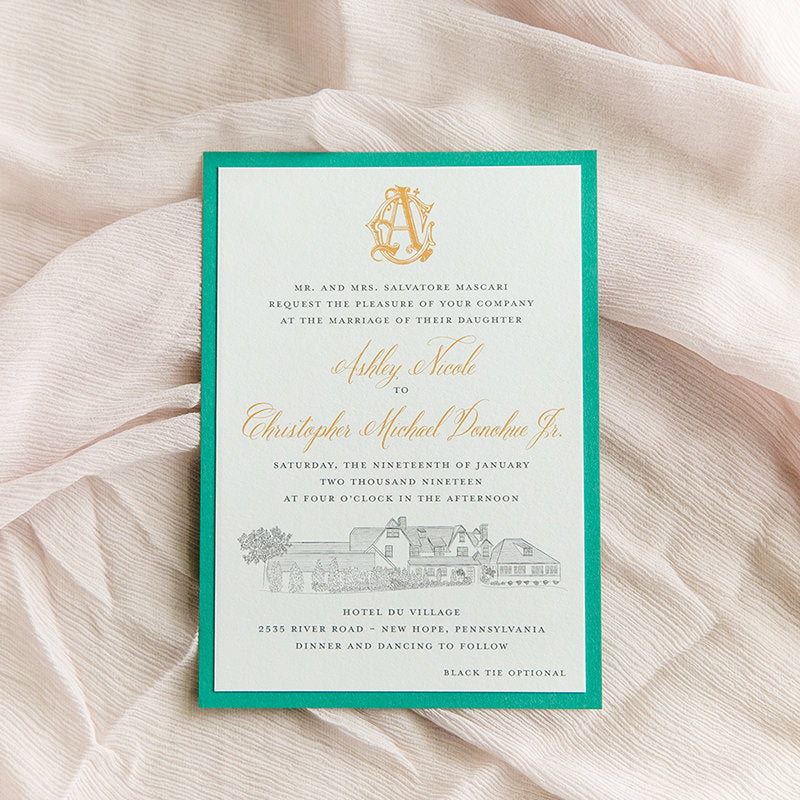 Hotel Du Village Wedding Invitation by Scotti Cline Designs