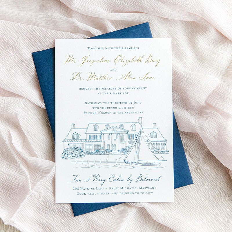 Inn at Perry Cabin Wedding Invitation by Scotti Cline Designs | Photo by Dana Cubbage Weddings