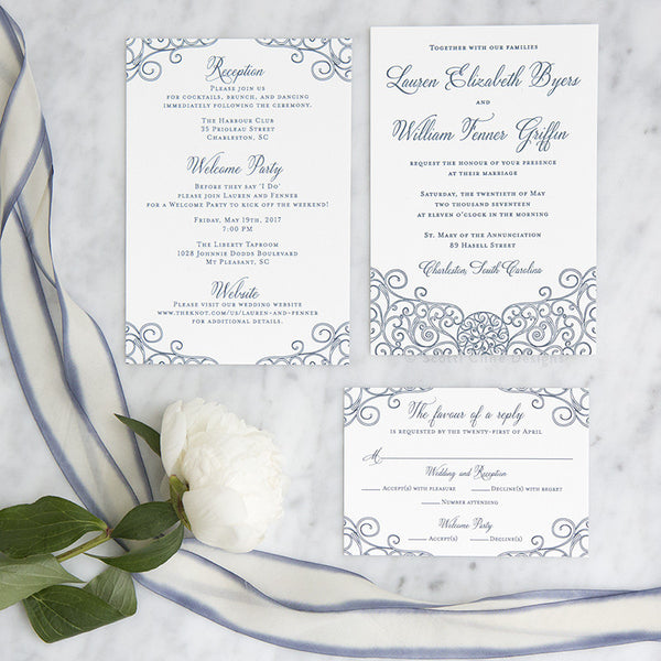Navy Letterpress Iron Gate Scrollwork Invitation by Scott Cline Designs
