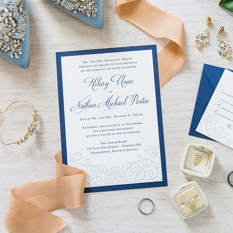 Letterpress Iron Gate Scrollwork Invitation by Scotti Cline Designs - Photo by Dana Cubbage Weddings