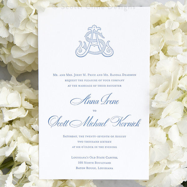 Monogram Letterpress Wedding Invitation by Scotti Cline Designs