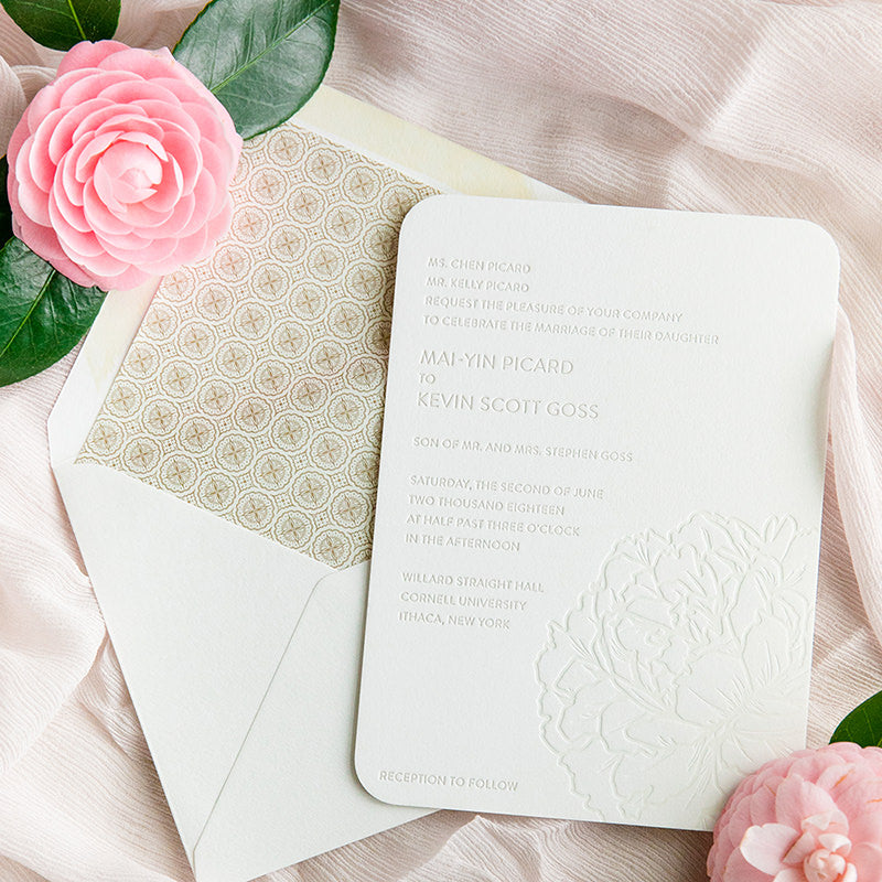 Modern Letterpress Peony Invitation by Scotti Cline Designs | Photo by Dana Cubbage Photography