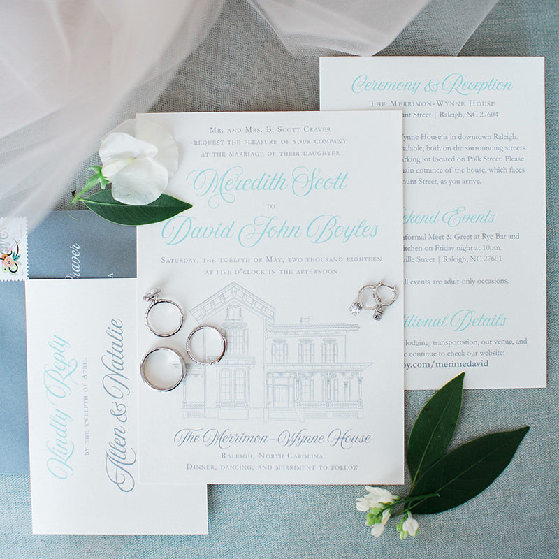 Merrimon-Wynne Wedding Invitation by Scotti Cline Designs | photo by Alaina Ronquillo