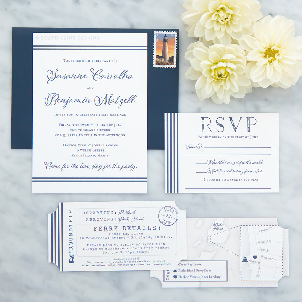 Nautical Stripe Maine Wedding Invitation – Scotti Cline Designs