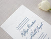 Letterpress Wedding Invitation with a lovely damask pattern to tie it all together.