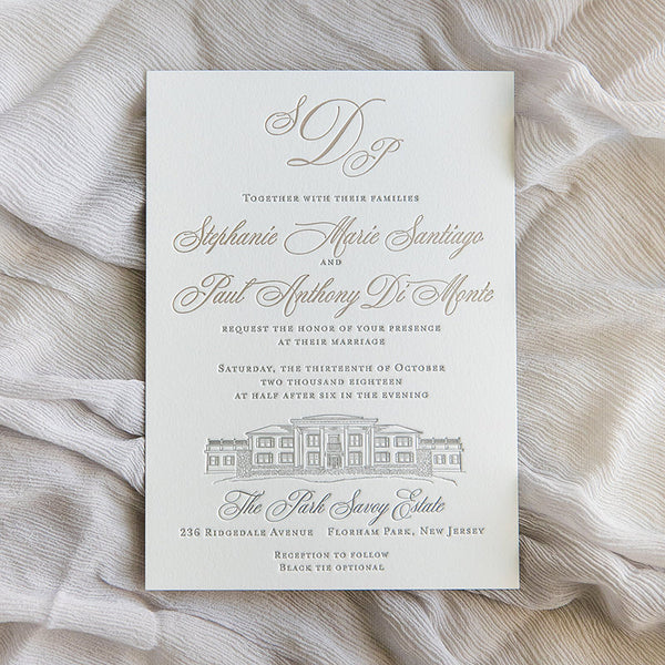 Park Savoy Estate Letterpress Wedding Invitation by Scotti Cline Designs | Photo by Dana Cubbage Weddings