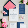 Pineapple and Navy Letterpress Wedding Invitation by Scotti Cline Designs | Photo by Dana Cubbage Weddings