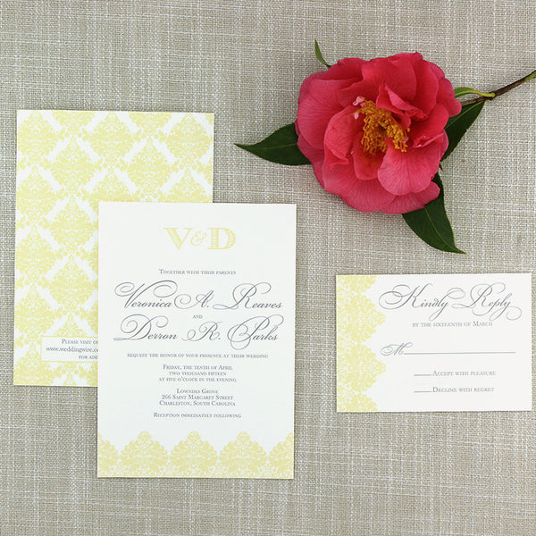 Pastel Yellow Damask Wedding Invitation by Scotti Cline Designs