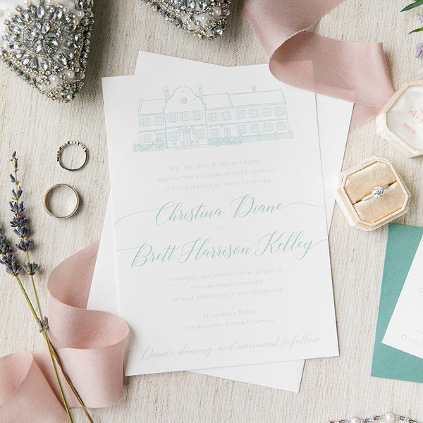 Middleton Place Wedding Invitation by Scotti Cline Designs | Photo by Dana Cubbage Weddings