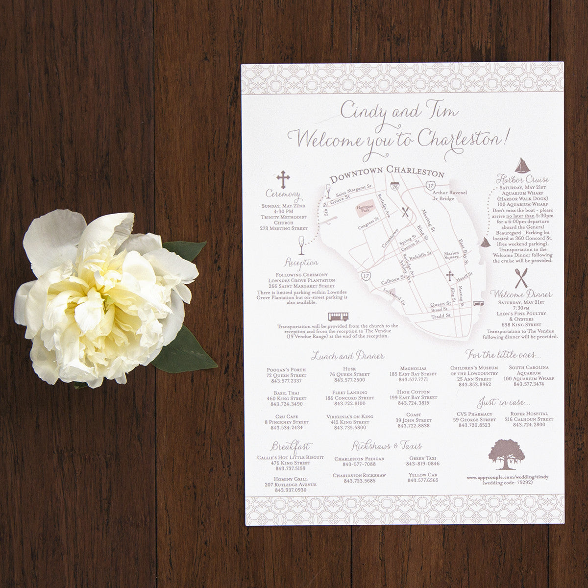 Wedding weekend itinerary and map scotti cline designs charleston wedding weekend itinerary by scotti cline designs junglespirit Images