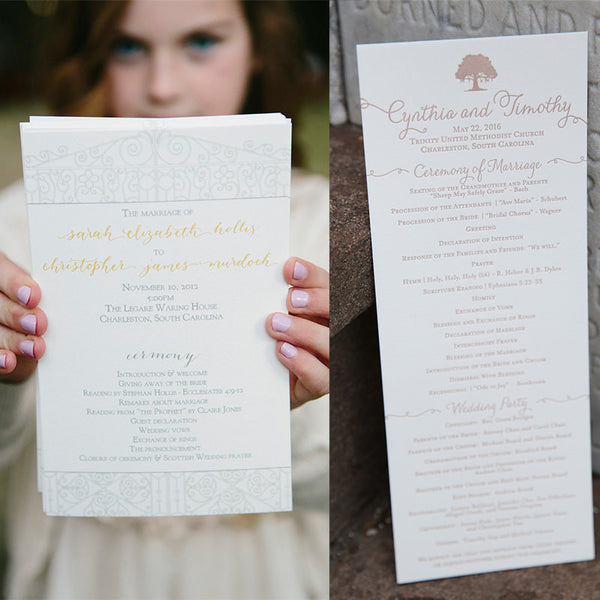 Half sheet wedding program - left picture by Paige Winn Photography, right picture by Jennifer Bearden Photography