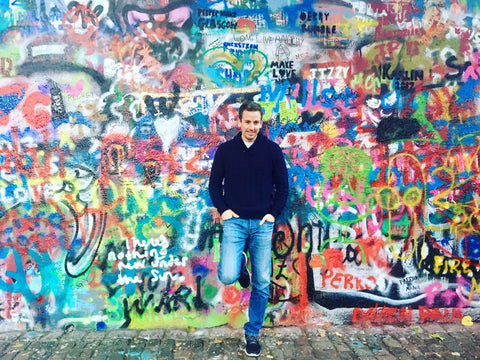 "At the ""John Lennon Wall"" in Prague."