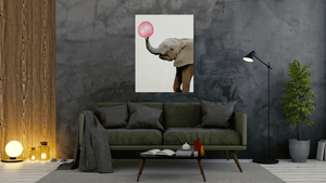 Bubble gum Elephant - canvas-to-the-people - Exclusive Canvas Art Shipped Globally