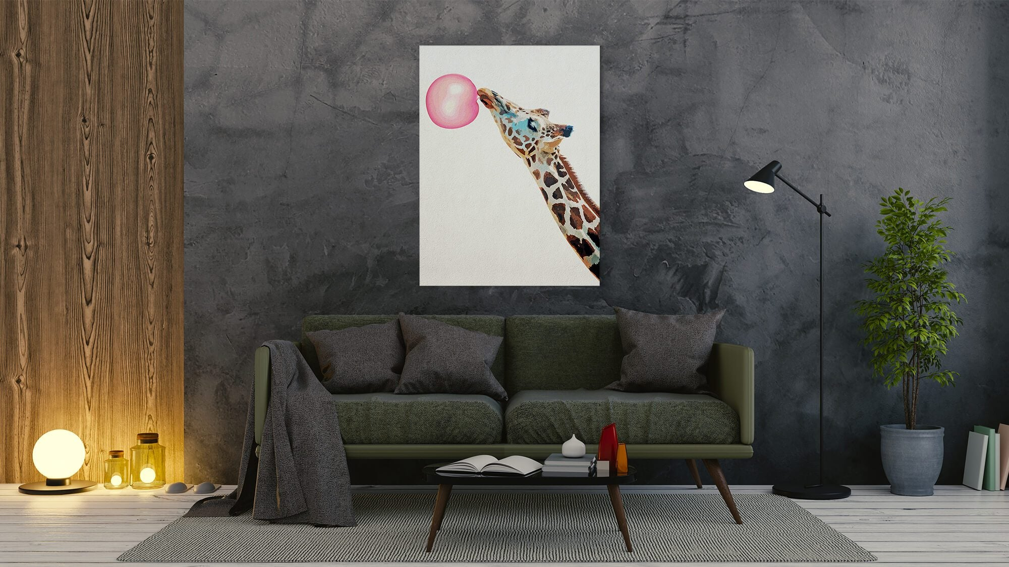 Bubble gum Giraffe - canvas-to-the-people - Exclusive Canvas Art Shipped Globally
