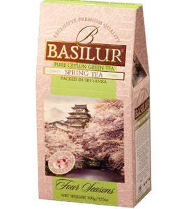 Basilur Four Seasons Spring Tea - Ceylon green tea with Cherry, Pomelo, Cornflower & Sakura 100g packet