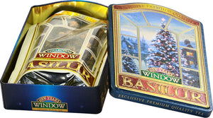 Basilur New Years Window Gift Tin - Black tea with Kiwi, Cherry, Cornflower & Almond 100g metal tin