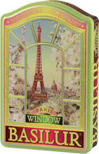 Load image into Gallery viewer, Basilur Window Paris Collection Tea Tin - Green Tea with Cherry , Cornflower , Almond , Vanilla & Strawberry